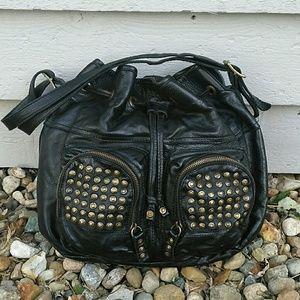 Frye Brooke Black Studded Leather Drawstring
